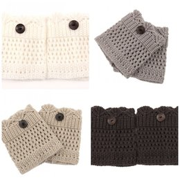 Wholesale Ladies Fashion Boots Wholesale - Women Lady Leg Sleeve Fashion Buttons Down Lace Knitted Winter Boots Cuffs Socks For Multi Color 5nq C