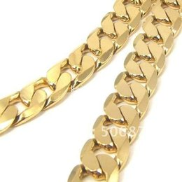 "Wholesale Yellow Gold Filled Jewelry - 24K YELLOW GOLD FILLED MEN'S NECKLACE 24""CURB CHAINS GF JEWELRY 12MM WIDTH"