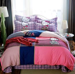 Atacado outono e inverno de algodão acolchoado colcha de cama dos desenhos animados de algodão dos desenhos animados de linho de quatro peças conjunto de cama de