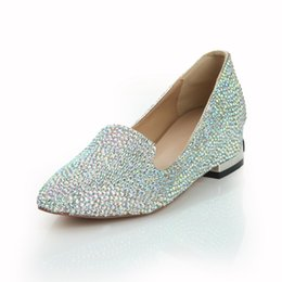 Wholesale Silver Beaded Heels - New 2015 Cheap Low Wedge Heel Women's Prom Party Evening Dress Wedding Bridal Shoes Pointed Toe Wedge Multi color Leather Rhinestone Crystal
