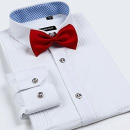 Wholesale Mens White Wedding Shirts - Wholesale-2015 Luxury Brand High Quality Mens Wedding Tuxedo French Style Men Casual Dress Shirts Groom Long Sleeve Shirts With A Bow Tie