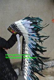Wholesale Free People Decor - Free Shipping Indian feather Headdress 36inch high indian war bonnet costumes hat for halloween christmas party decor