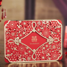 Wholesale Wedding Invitation Classic - Wholesale- 100 Pieces, Classic Red Chinese Double Xi Wedding Invitations Cards, By Wishmade, CW6088