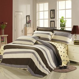 Wholesale Striped Full Flat Sheet - Wholesale-Grey Brown Dots Multi Tones Striped Bedding Sets Duvet Cover Flat Sheet Sham Cover Twin Full Queen King Size 100% Cotton