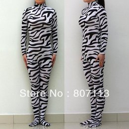 Wholesale Back Zip Catsuit - Wholesale-Wholesale - Free Shipping Zebra Animal Lycra Spandex Zentai costume Bodysuit Catsuit Unitard No Hood & Hands back zip