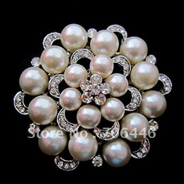 Wholesale Large Pearl Flower Brooch - 2.5 Inch Silver Rhodium Plated Large Flower Cream Faux Pearl and Rhinestone Crystal Brooch