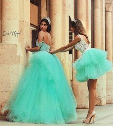 Wholesale Charming Quinceanera Dresses Ball Gown - Mint Green Charming 2017 Quinceanera Girls' Ball Gowns Tulles Romantic Lace Evening Party Dresses with Layers Appliques Party Formal Gowns