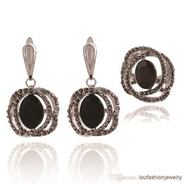 Wholesale Bridesmaid Jewelry Sets Pink - Black Pink Red White Oval And Crystals Jewelry Sets Bridesmaid Jewelry Set with Ring and Earring Jewelry Sets Earrings Rings Sets For Women