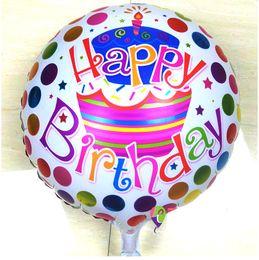 Wholesale Happy Holidays Decorations - Dots Happy birthday foil balloon 2018 new birthday party decoration aluminum foil balloon wholesale free shipping