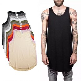 Wholesale Tank Top Scoop Neck - 2018 Summer Men's Plain Long Tank Top Sleeveless Curved Hem Cotton T-Shirt Summer Sport Basketball Tees Black White Longline Vest MJG0310