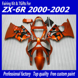 kits de carenagem kawasaki laranja Desconto Kit de carenagens laranja queimado para carenagens Kawasaki ZX6R 2000 2001 2002 Ninja 636 00 01 02 Kits de carroçaria ZX 6R