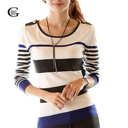 Wholesale Sweaters Lace Bottom - Wholesale- Lace Girl Stripe Women Knitted Sweater Fitness Bottom Knitted Shirt Fashion Casual Long Sleeve Thin Ladies Pullover Sweaters