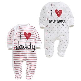 Wholesale I Love Daddy Baby - Baby Rompers Cotton Long Sleeved Striped Star Print I Love Mummy And Daddy Romper Baby Spring Autumn Clothing For Baby Boy Girl