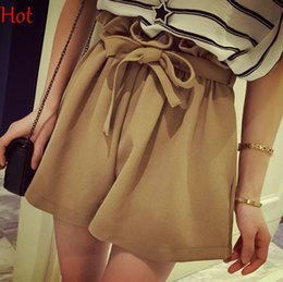 Wholesale Korea Style Short Pants - Korea Hot Womens Shorts Lady Casual Drawstring Shorts Elastic Waist Loose Ruffled Short Pants Black White Brown Summer Style Shorts SV024822