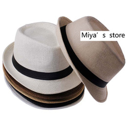 Wholesale Straw Hat Wholesalers - Wholesale-Hot Sale Trendy Unisex Fedora Trilby Gangster Cap For Women Summer Beach Sun Straw Panama Hat Men Fashion Cool Hats Retail