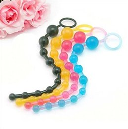 Wholesale Colorful Butt Plugs - Anal Massage Plug Sex Toys Anal Butt Beads Plug Colorful Jelly Pull Chain anal beads Sex Toy