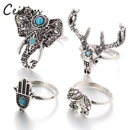 Wholesale Elephant Heads - Retro 4pcs Set Bohemian Vintage Silver Elephant Deer Head Unicorn Rings For Women Fatima Hand Ring Jewelry Set Accessories
