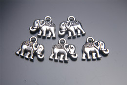 Wholesale Earring Infinity - 200pieces 14mm Elephant Pendant 7027 Charms Plated Silver DIY Jewelry Finding Making Charms Necklace infinity Bracelets Earring Accessory