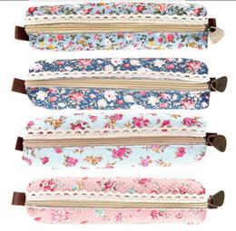 Bolsas de lápis floral on-line-Colegial qualidade Mini Retro flor Floral Lace caixa de lápis lápis saco fornece cosméticos maquiagem saco do Zipper bolsa bolsa