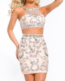 Wholesale Tight Small Dress - 2016 small round collar euramerican style manual seam bead mini sexy two-piece champagne tight cocktail homecoming dress