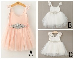 Wholesale White Lace Boat Neck Dress - PrettyBaby Infant Baby Girl Dresses With Lace Shoulder straps Rhinestone Sash dress pink white Girl Wedding Wear free shipping