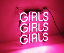 """Wholesale Beach Bar Signs - Beer Neon Sign Pink Girls 12 In"""" x 10 In """" for Home Bedroom Pub Hotel Beach Recreational Game Room Decor"""