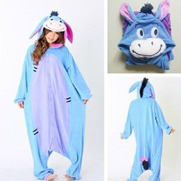 Wholesale Adult Cosplay Onesies - Fashion Christmas Halloween Costumes Pajamas All in One Pyjama Animal suits Cosplay Adult Flannel Eeyore Donkey Cartoon Onesies