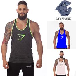 Wholesale Pink Racerback Tank Top - Gym shark Wholesale Cotton Gym Tank Top Mens Bodybuilding Stringer Tops Undershirt Fitness Vest Muscle Sleeveless Singlet Racerback Top