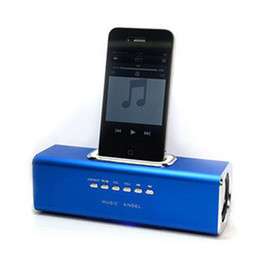 Wholesale Drop Ship Mobile Phone - Retail Portable Mini Dock Station Speaker for ipod iphone3 iphone4 iphone 4s,With USB and Micro SD card Slot Drop Free Shipping, dandys