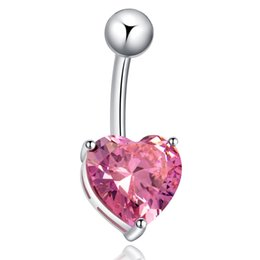 Wholesale Dangle Design Belly Ring - 2015 New Fashion Stainless Rhinestone Crystal Belly Navel Button Bar Ring Piercing Heart Design Navel Dangle Belly