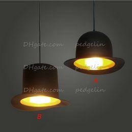 Wholesale Droplight Lamp Holder - 110v 220v e27 lamp holder Jeeves & Wooster Top Hat Pendant Light aluminum fedora hat light dining room bedroom Britain droplight
