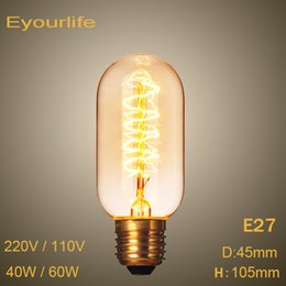 Wholesale Vintage Bedroom Decorations - Wholesale-Vintage Edison Bulbs,E27 T45 Incandiscent Light Bulbs 220V 110V ,40W 60W For Decoration Of Living Room,Bedroom,Study.