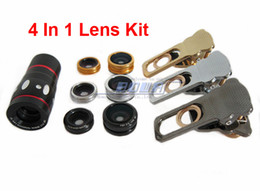 Wholesale Mobile Camera Kit - Clip Cat Style Lens 4 in 1 universal Wide Angle Macro lens 180 Fish Eye 10x zoom telescope camera Kit Set for iPhone Samsung mobile phones