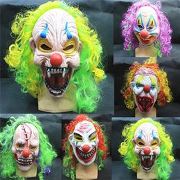 Wholesale Wholesale Adult Clown Masks - Halloween Scary Party Mask Latex Funny Clown Wry Face October Spirit Festival Emulsion Terror Masquerade Masks Children Adult 20pcs