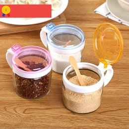 Discount salt boxes - Wholesale- New 300ml Kitchen Glass Spice Mason Jar with Spoon Clear Bottle Storage Jar for Salt Honey Oil Seasoning Box Cooking Tools Jars
