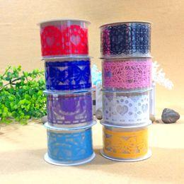 Wholesale Lace Tape Large - 20pcs Large stickers DIY hollow out cute cartoon lace tape decorative stickers 3.5*100cm mix colors