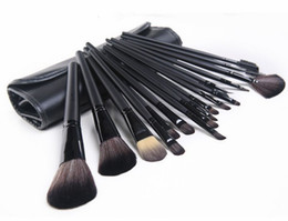 Wholesale Makeup Brushes Roll Up Case - Black Brown handle 18Pcs Professional Makeup Brushes set Cosmetic Brush Set Kit Tool + Roll Up Case DHL