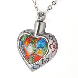Wholesale Flower Memorial - Stainless Steel Murano Glass Flower Love Heart Waterproof Cremation Urn Necklace Ash Memorial Jewelry with gift bag and chain