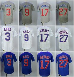 Wholesale Ross Gold - Youth Chicago 3 David Ross 9 Javier Baez 17 Kris Bryant 27 Addison Russell Baseball Jersey Cool Base