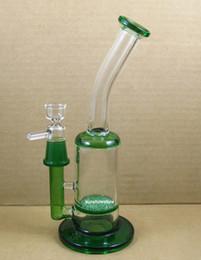 """Nouveau verre de couleur verte en Ligne-NOUVELLE ARRIVÉE 9.5 """"VERRE barboteur de couleur disque fritté Pipe à eau en verre Bang narguilé vert mâle bleu 18.8mm"""