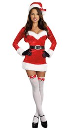 Wholesale Mrs Santa Fancy Dress - Sexy Miss Santa Mrs Claus Christmas Dress & Hat Fancy Dress Party Costume Women 8303 one size S-L