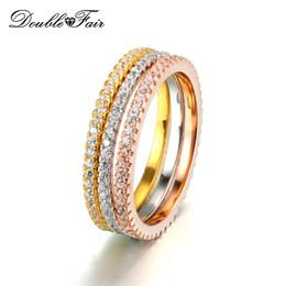 Rosa amarilla conjuntos de joyas online-Simple elegante Cubic Zirconia Rose / blanco / 18 K oro amarillo plateado 3 rondas conjuntos del anillo de bodas joyería de moda al por mayor para las mujeres DFR647