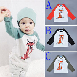 Wholesale Long Sleeves Fashion For Kids - 5pcs Bobo Choses T-shirts For Boys Girls Clothing 2016 New Brand Fox Printed Long Sleeve Kids T Shirts Cartoon Animal Children Clothes