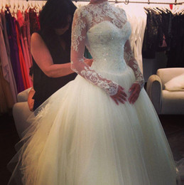 Wholesale Stunning High Neck - Stunning iovry tulles Ball Gown Sheer Wedding Dresses with long sleeves 2015 bateau backless lace appliques sequins formal bridal gowns