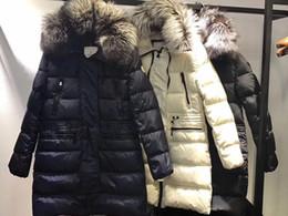 Wholesale Women Down Coat Fox - M Brand women luxurious Large fox fur collar hooded Down coat warm down parkas long winter jacket 3 colors