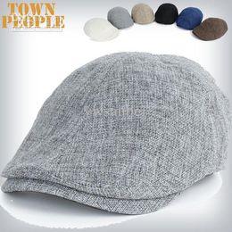 Wholesale Newsboy Beret Cabbie Men - 2015 fashion Summer Peaked Beret hat Newsboy Visor Hat Cap Cabbie beret Golf Driving Flat Gatsby Flat Caps flax Hats