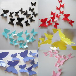 статические настенные наклейки Скидка 9 цветов ПВХ съемный стены наклейки бабочка стены наклейки