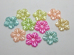 Wholesale Flat Back Flower Beads - 200 Mixed Acrylic Color Pearl flower Beads 12mm Flat Back Scrapbook Craft