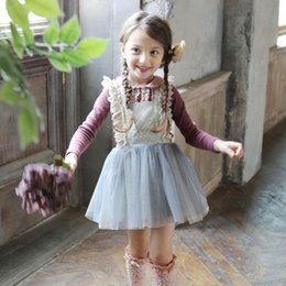 Wholesale Korean Style Dress Kid - Kids Girls Spring Tulle Lace dress Sweet Baby Girl Party TuTu Dresses Princess Korean Style Suspender Dress girls slip dresses 5pcs lot