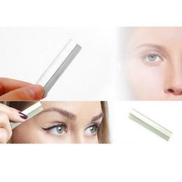 Wholesale Makeup Scraper - Wholesale-Sharp Stainless Steel Hair Blade Knife Eyebrow Trimmer Scraper Eyebrow Shaping Shaver Razor Blade Professional Makeup Tools L35